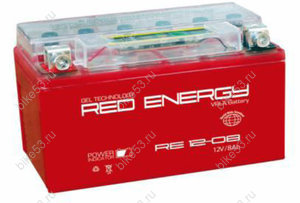 Аккумулятор 12в  8а/ч  (YT7B-BS, YT7B-4, YT9B-BS) RED ENERGY (RE 12-08) 4627073800786